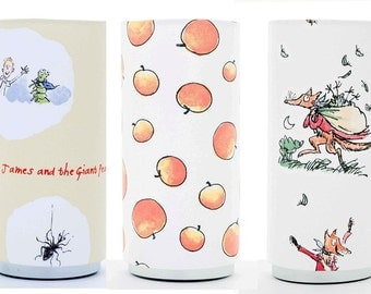 Roald Dahl Design Childrens Table Lamp.Matilda,Charlie, Mr Fox,James and Friends, the Giant Peach, With Chrome Pad Base