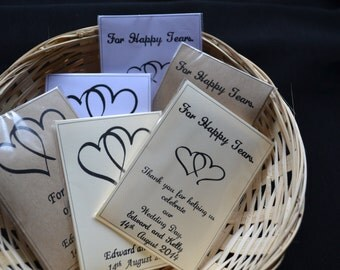 10 - 100 Personalised Tissue sleeves for Weddings, civil ceremonies and event.