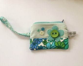 Applique purse with wrist strap made with vintage fabrics