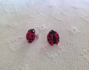Ladybird stud earings - polymer clay