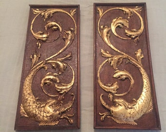 Pair of gilded antique carved wood panel 7''x16""