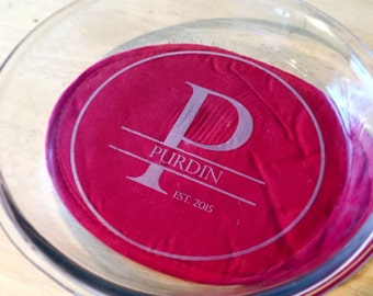 Personalized Laser engraved Pie Pan