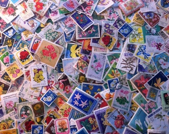 FLOWERS on vintage postage stamps