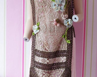 1920s tabard dress with 3D ribbonwork---s