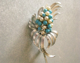 A Brooch by Coro - Pearls & Turquoise Beads