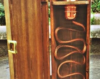 Wooden box abat-jour gold table lamp