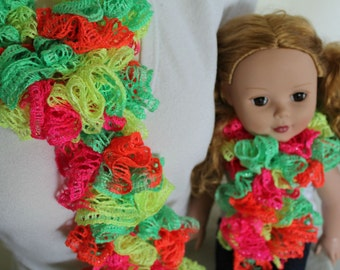 SALE Mother Daughter, Girl and Doll, Mommy and Me, Sashay Crochet Ruffle Scarf, Neon, gifts for her, gifts under 15 dollars, Christmas gift