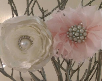 Ivory and pink baby headband