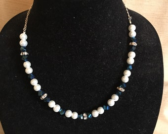 Pearl and Sapphire beaded  18 inch Necklace with Silver chain and embelishments