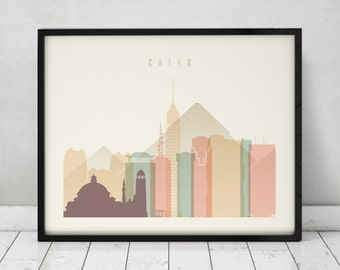 Cairo print, Poster, Wall art, Egypt cityscape, Cairo skyline, City poster, Typography art, Gift, Home Decor Digital Print, ART PRINTS VICKY