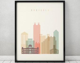 Honolulu print, Poster, Wall art, Hawaii cityscape, Honolulu skyline, City poster, Typography art Home Decor Digital Print, ART PRINTS VICKY