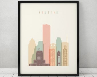 Houston print, Poster, Wall art, Texas cityscape, Houston skyline, City poster, Typography art, Home Decor, Digital Print, ArtPrintsVicky.