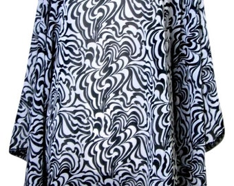 Beautiful black and white chiffon tunic
