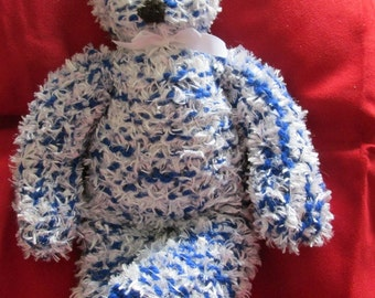 Hand Knitted Teddy Bear, This is 'Blue'