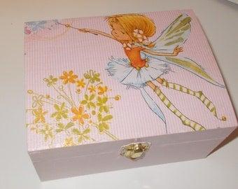 Shabby Chic Pink Jewellery Trinket Box Flower Fairy decoupage