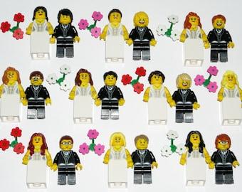 LEGO Bride and Groom Minifigure Wedding Cake Topper Custom YOU CHOOSE the Hair, Head, Flowers - Brand New