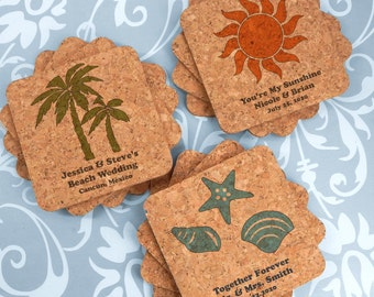 Beach Wedding Favors, Wedding Favors Coasters, Custom Square Cork Coasters - Set of 12