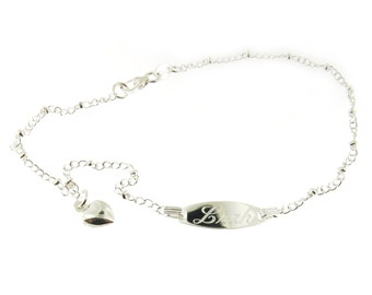 Personalized Name Engraved 925 Sterling Silver Dangle Heart Anklet