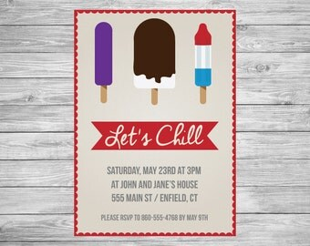 Summer Cookout Party Invitation - Popsicle Let's Chill - Barbecue BBQ - Printable/Digital