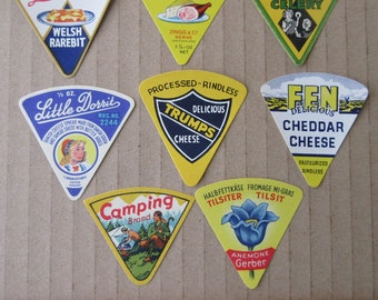 8 Vintage Paper Cheese Labels Food Labels Assorted Vintage Ephemera  Group C