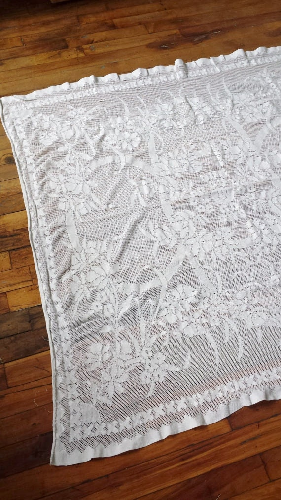 Vintage white lace cotton square tablecloth for White cotton table cloth