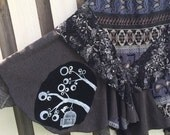 Birdcage Patchwork upcycled sweater skirt/ geometric print / asymmetrical hemline / Woman's plus size/ Hippie boho clothing/ Sz 2X 3X