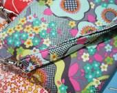 Wedding Clutch 2 pockets,medium,yellow,green, wristlet zipper pouch - Peace flowers mist