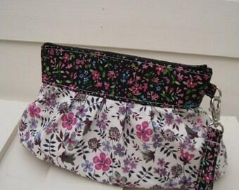 BRIDESMAID CLUTCH, Janbag wristlet, pink,purple,flowers,cotton pocket - - Flora purple/pink