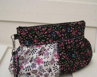 Bridesmaid clutch,janbag wristlet,patchwork pink purple, wristlet,pleated bag -- Purple floral