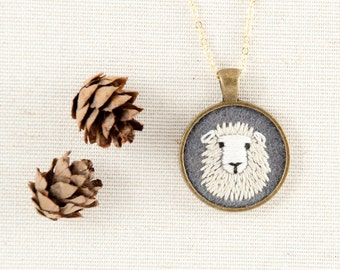 Sheep Necklace - Sheep Jewelry - Dolly the Sheep Embroidered Wool Felt Necklace - Animal Portrait - Circle Pendant - Gold Plate - Grey