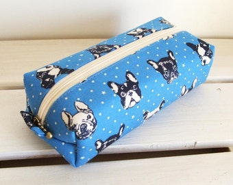 Long box pouch  - French bulldog in blue