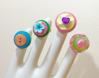 Button Ring Set, Girls Party Ring Set, Colorful Adjustable Ring Set, Cute Rings for Girls, Sewing Buttons Turned into Rings, Button Jewelry