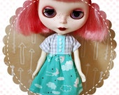 Blue Skies Ahead / One-of-a-Kind Doll Dress for Blythe