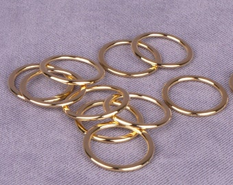 50 Pairs Gold Metal Alloy Strap Rings - 1/2 inch (M013GO-50)