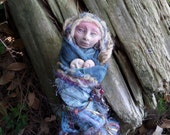 Equinox Moon,Earth Mother Doll, Kitchen Witch, Besom, Moonstruck Art Doll, Shabby Chic Decor