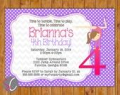 Gymnastic Party Invitation Tumble Gym Invite Personalized Gymnastic 4th 6th 8th Birthday 5x7 Digital JPG (149)
