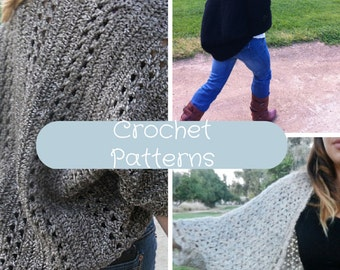 3 Crochet Patterns Discount Sale: Shrug, Cardigan, Sweater, Top, Poncho, Scarf, Wrap, Shawl