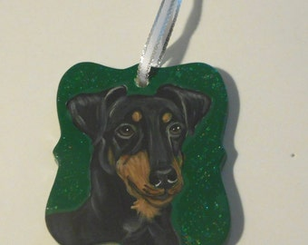 Manchester Terrier Dog Custom Painted Ceramic Christmas Ornament Decoration