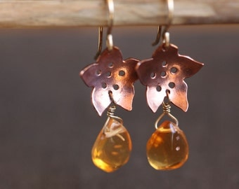Copper sakura blossom earrings, fire opal, flower earrings