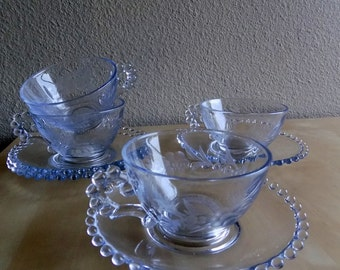 Imperial Glass Candlewick Flat Cups and Saucers - Set of 4 Cups and 4 Saucers