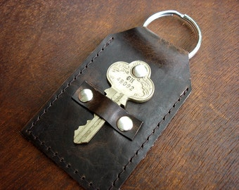 Distressed Brown Leather Key Fob with Fancy Vintage Key - Key Ring