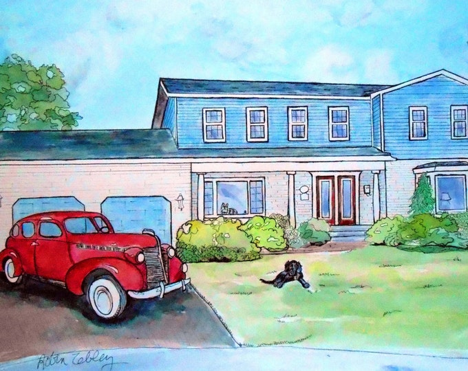 Custom House Portrait with Custom Antique Car Watercolor Painting