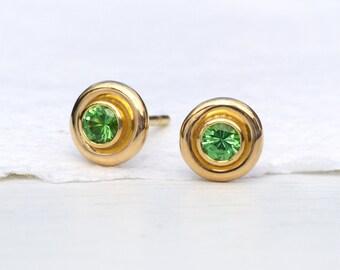 Tsavorite Stud Earrings in 18k Gold, Handmade in the UK