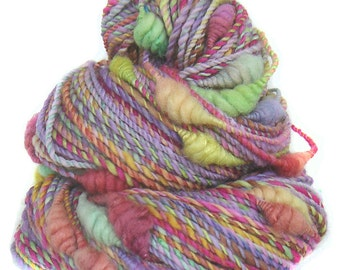 Art Yarn handspun handdyed Merino wool silk with coils
