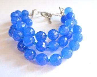 The Betty- Cobalt Blue Jade Chunky Bracelet