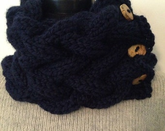 Navy Blue Knitted Cowl, Chunky Cable Neck Warmer with 3 Reclaimed Wood Buttons