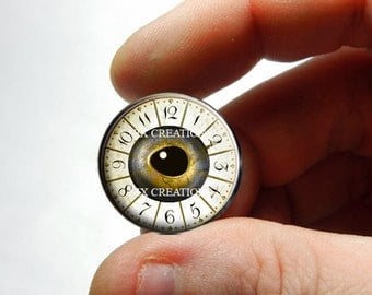 Glass Eyes - Steampunk Clockwork Fish Eye Glass Taxidermy Doll Eyes Cabochons - Pair or Single - You Choose Size