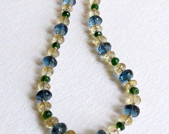 Necklace made with Blue Topaz, Yellow Citrine, and Green Diopside with Sterling Silver, Smokeylady54