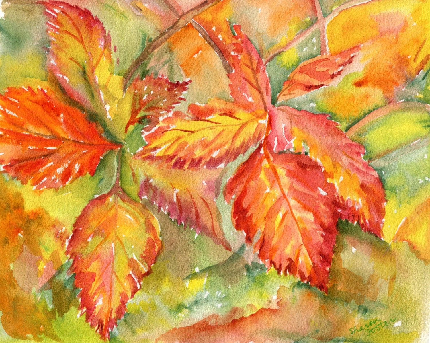 Fall Leaves Watercolor Painting Original 8 x 10 Autumn leaf