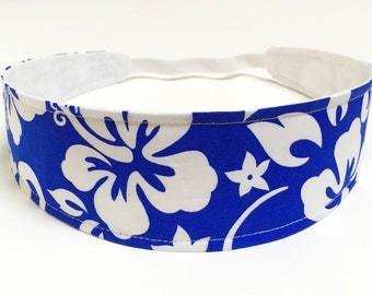 Women's headband - Reversible Fabric Headband - Blue Floral Headband - TROPICAL BLUE